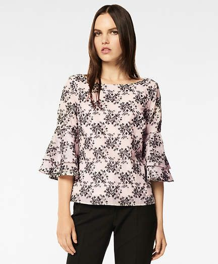 dae65d2637026 Brooks Brothers Floral-Embroidered Striped Cotton-Silk Jacquard Blouse
