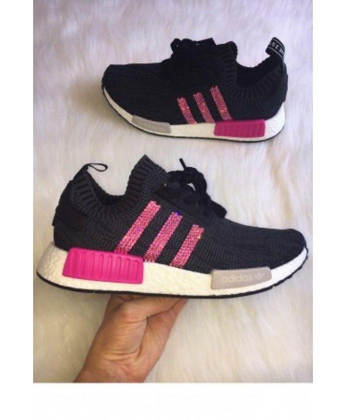 Adidas NMD Black Trainers Pink Swarovski Crystals  be6f5d664