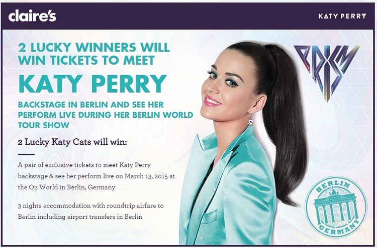 Claire's (the trendy fashion jewelry store) is sponsoring this sweepstakes where you'll have the chance to win a trip for two to Germany and meet Katy Perry. I guess, if you didn't win a Pepsi …