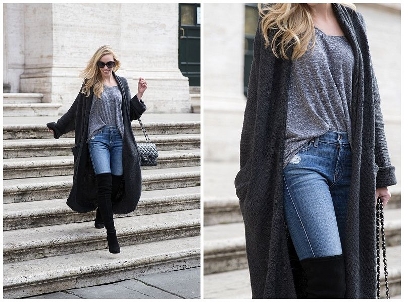 How to Wear a Duster Cardigan: Dolman tee, High waist denim & Over ...