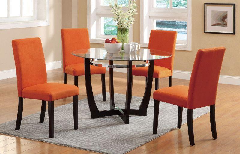 Poundex F2348 1303 5 Pc Allister Ii Espresso Finish Wood Orange