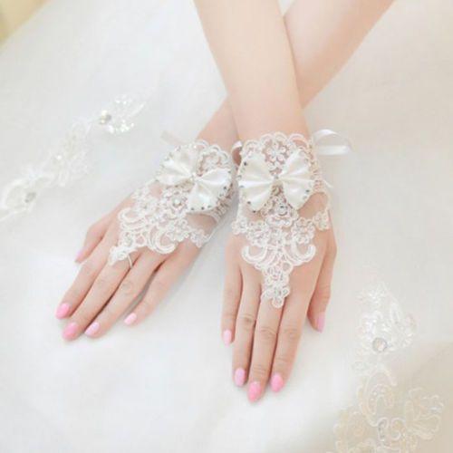 white plus size wedding gloves