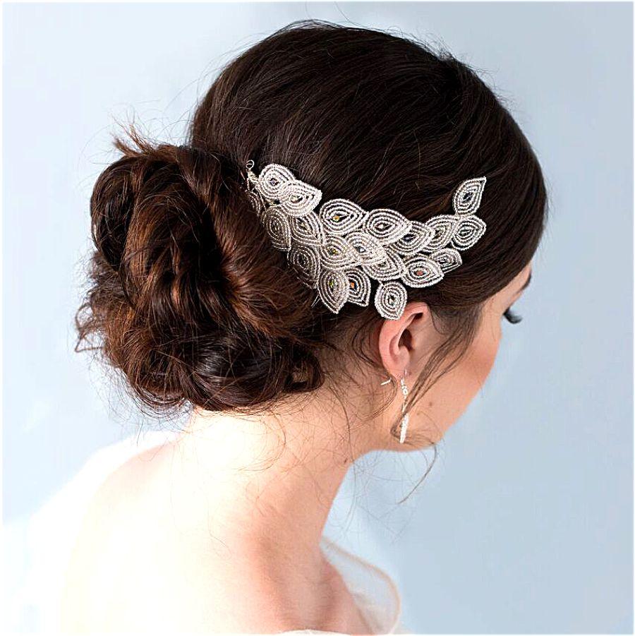 peacock art deco bridal hair accessory | art nouveau hair