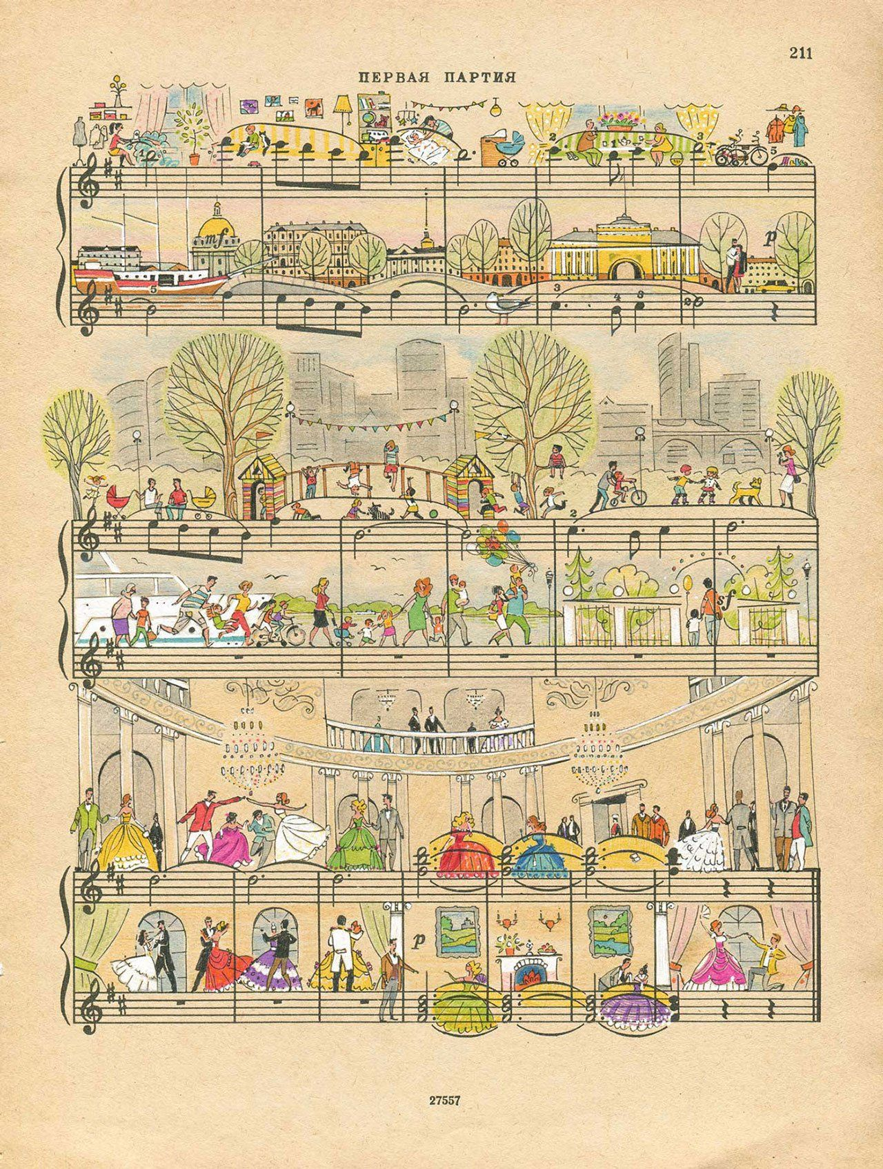 On Note: Miniature Illustrations on Sheet Music by