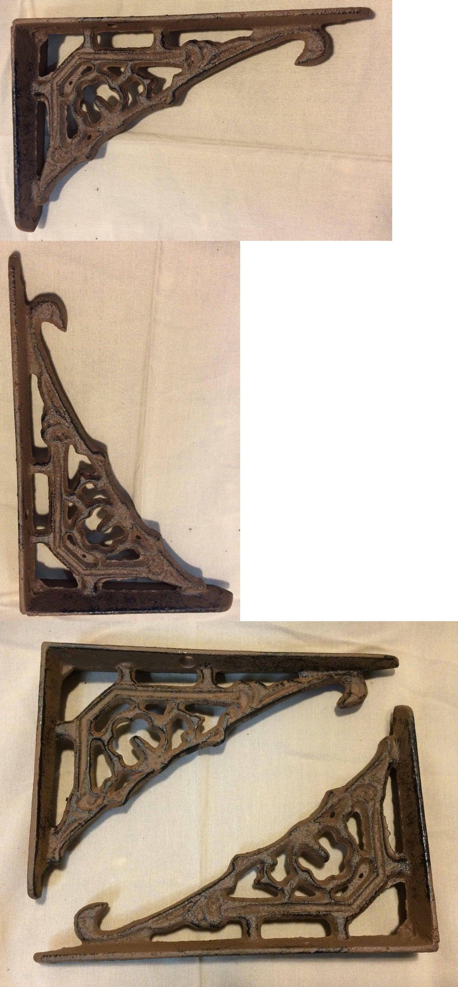 SET OF 2 CAST IRON GINGERBREAD BRACE SHELF BRACKETS antique brown patina finish