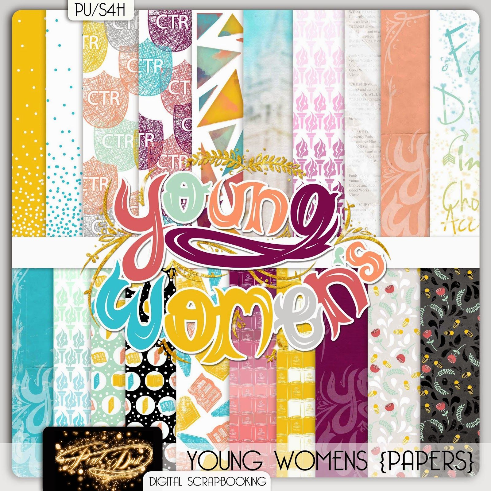 Yw scrapbook paper - Lds Young Women S Digital Scrapbooking Kit Papers Free Kit Download