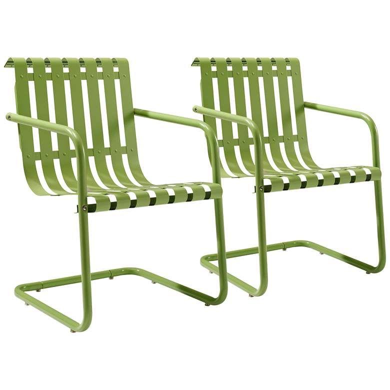 Gracie Green Steel Indoor Outdoor Armchair Set Of 2 24a94 Lamps Plus Outdoor Armchair Outdoor Chairs Furniture