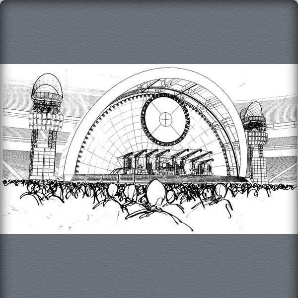 Pink Floyd The Division Bell Stage concept sketches by Mark Fisher