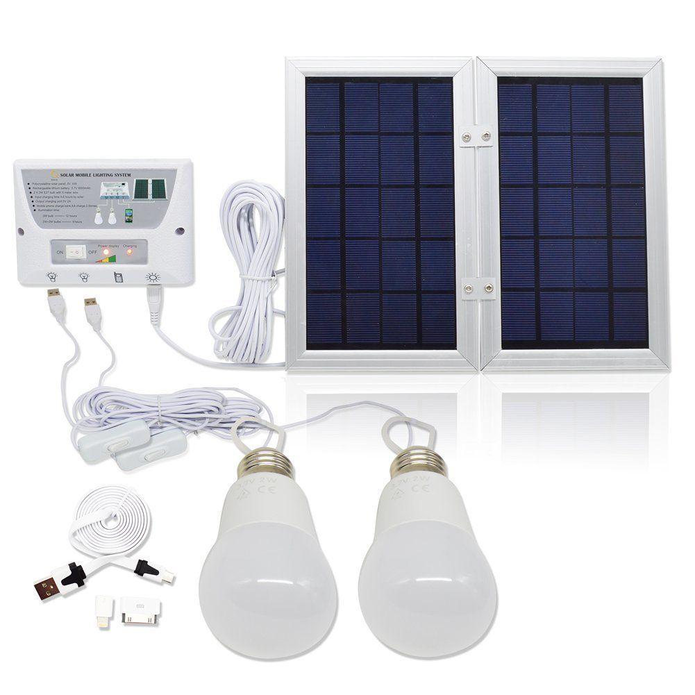Panel Foldable] HKYH Solar Mobile Light System, Solar Home DC System Kit,  Lithium Battery   Foldable Panel Solar Home System Kit   Including 3 Cell  Phone ...