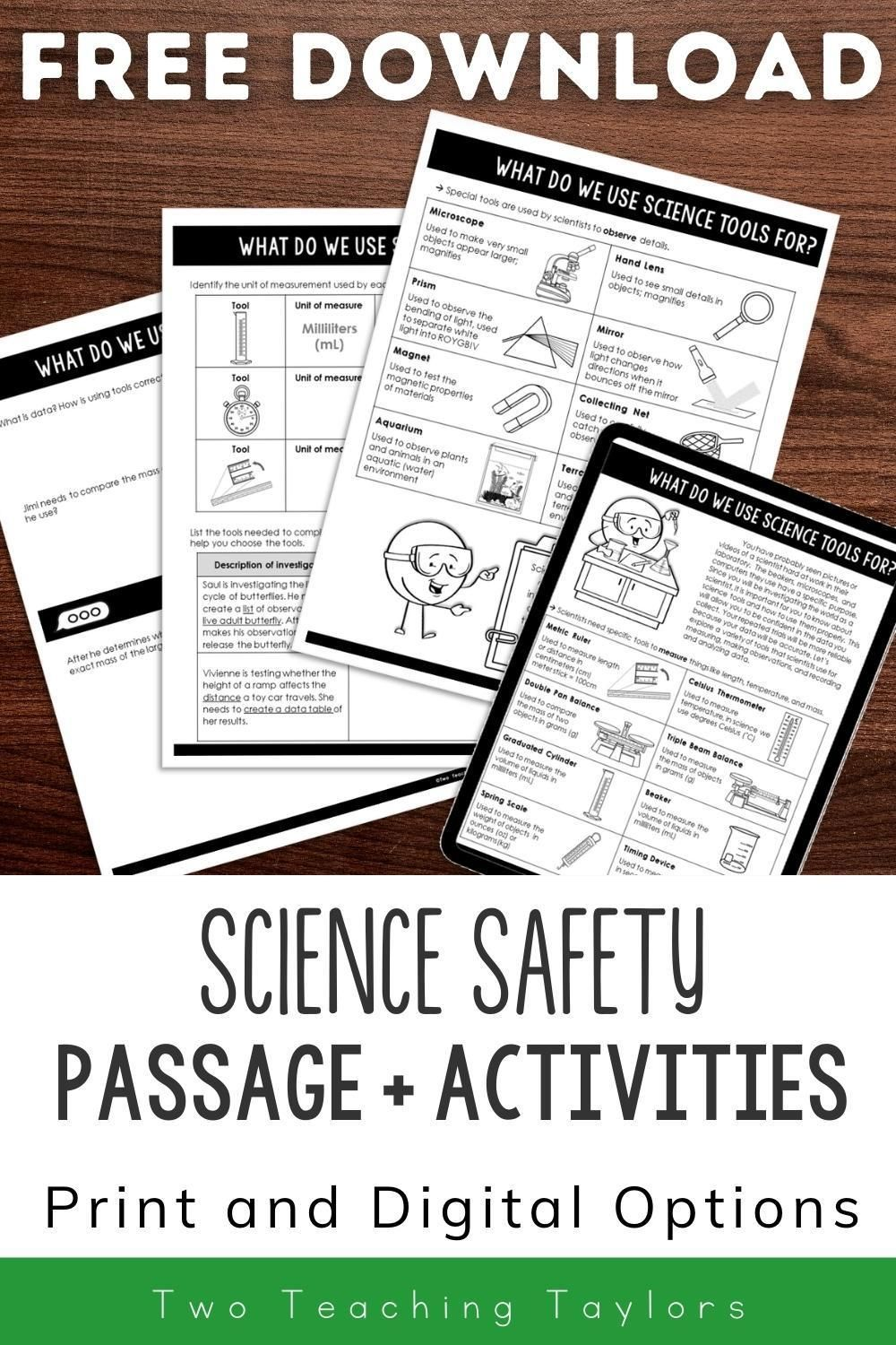 Science Safety Activities Freebie Science Safety Activities Science Process Skills Science Safety