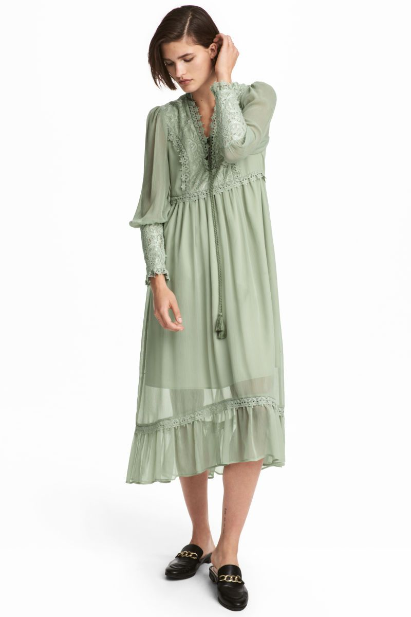 ac7b9d579ac8f Chiffon Dress with Lace | Dusky green | SALE | H&M US | Millie ...