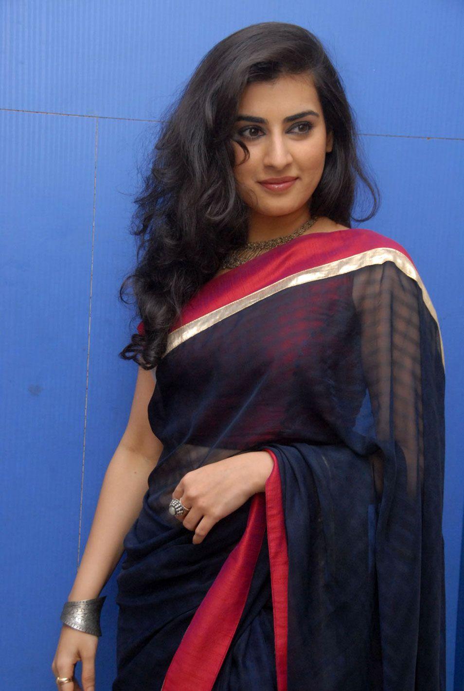 Archana Veda Latest Stills In Blue Saree | Black saree ...