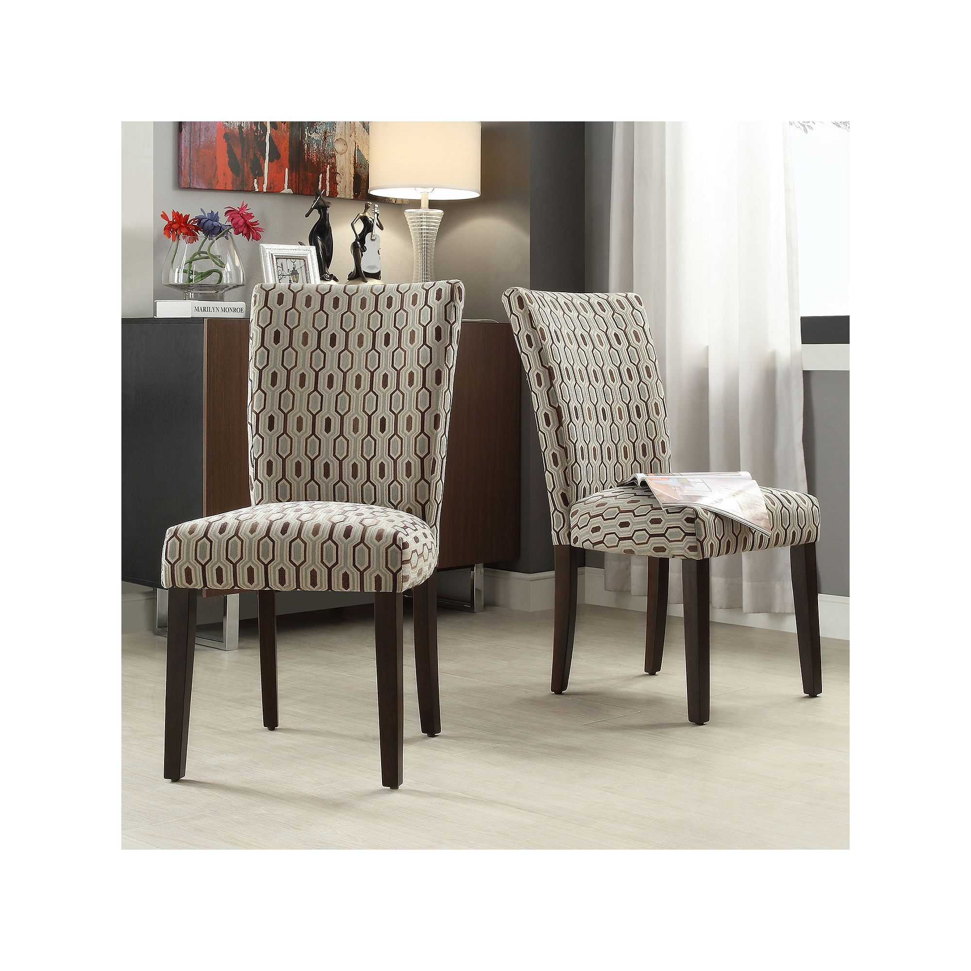 Homevance Denargo Printed Side Chair 2 Piece Set White