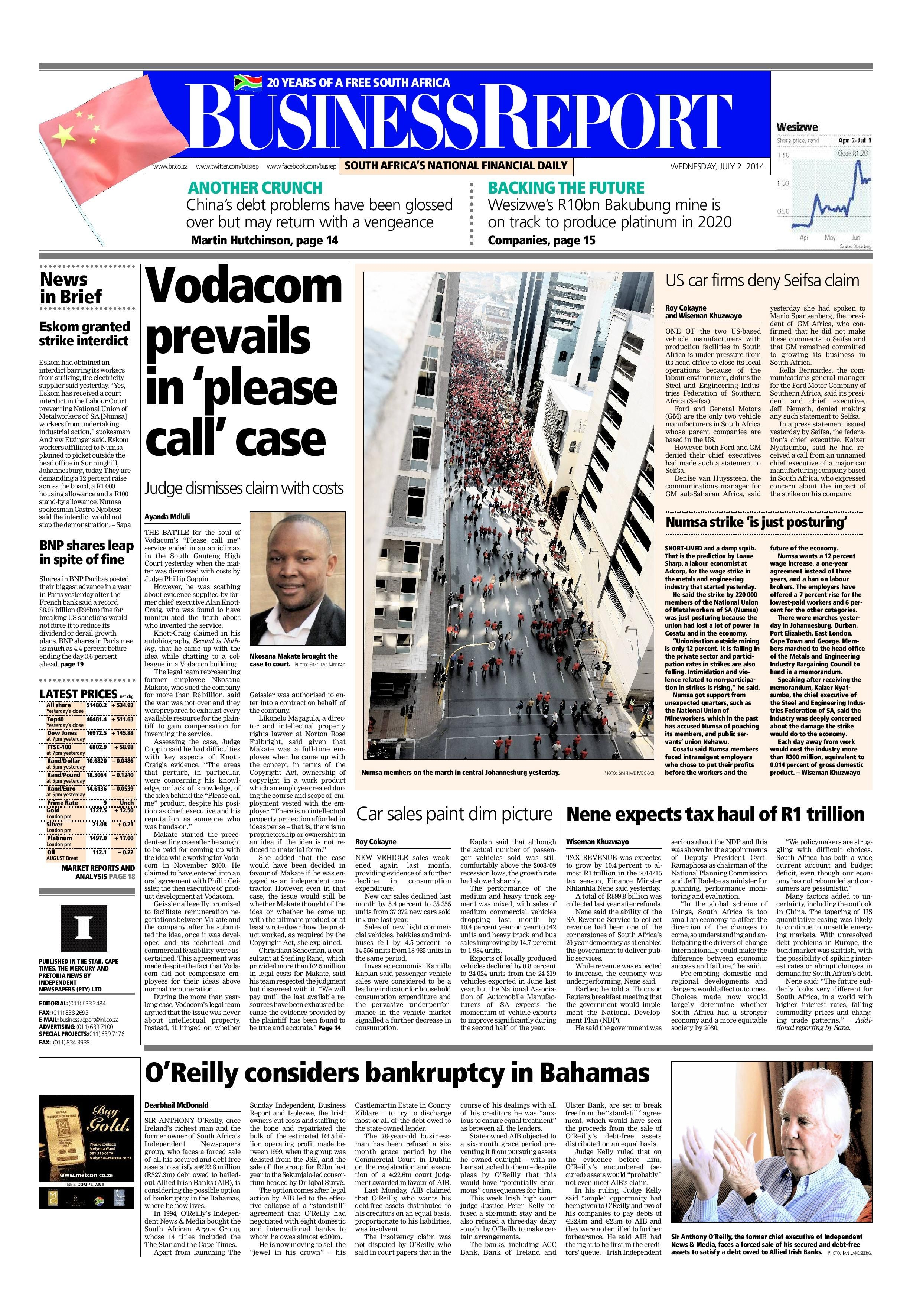 The Front Page Of TodayS July   Business Report Paper