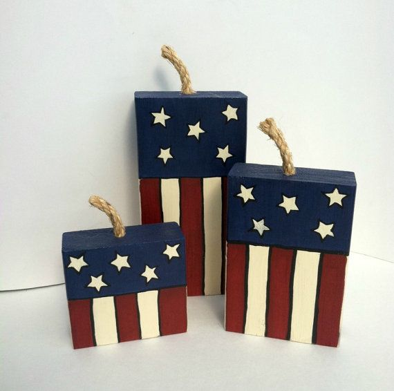 Patriotic, Firecrackers, Wood Crafts, Patriotic Décor, Fourth of July, Wood Décor, Red White Blue, Home Décor, July 4th, Summer, Wood