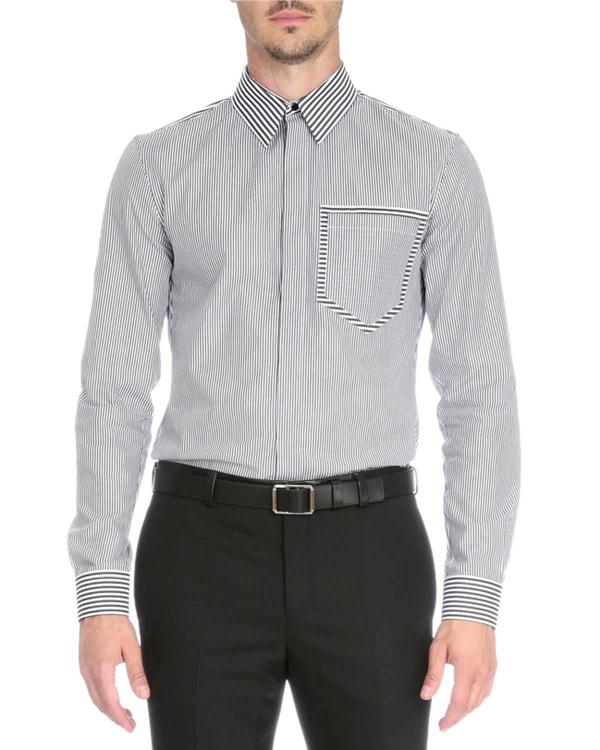 Striped Sport Shirt with Pocket, Black