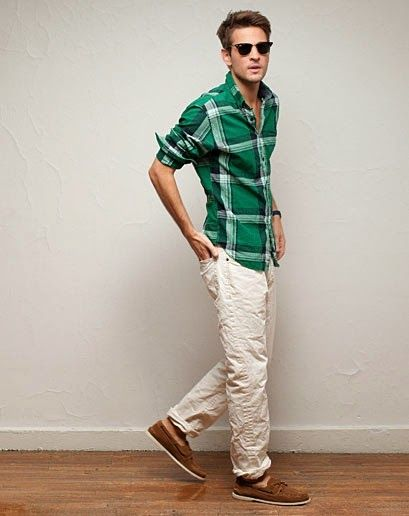 Style Seize: green plaid   cream pants | Men Get the complete look ...