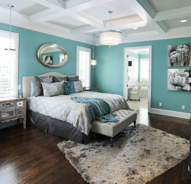 Contemporary Aqua Blue Bedroom With Elegant King Size Bed And Grey  Upholstered Bench Also Reclaimed Wood Drawers And Stained Wooden Floor  Design Ideas