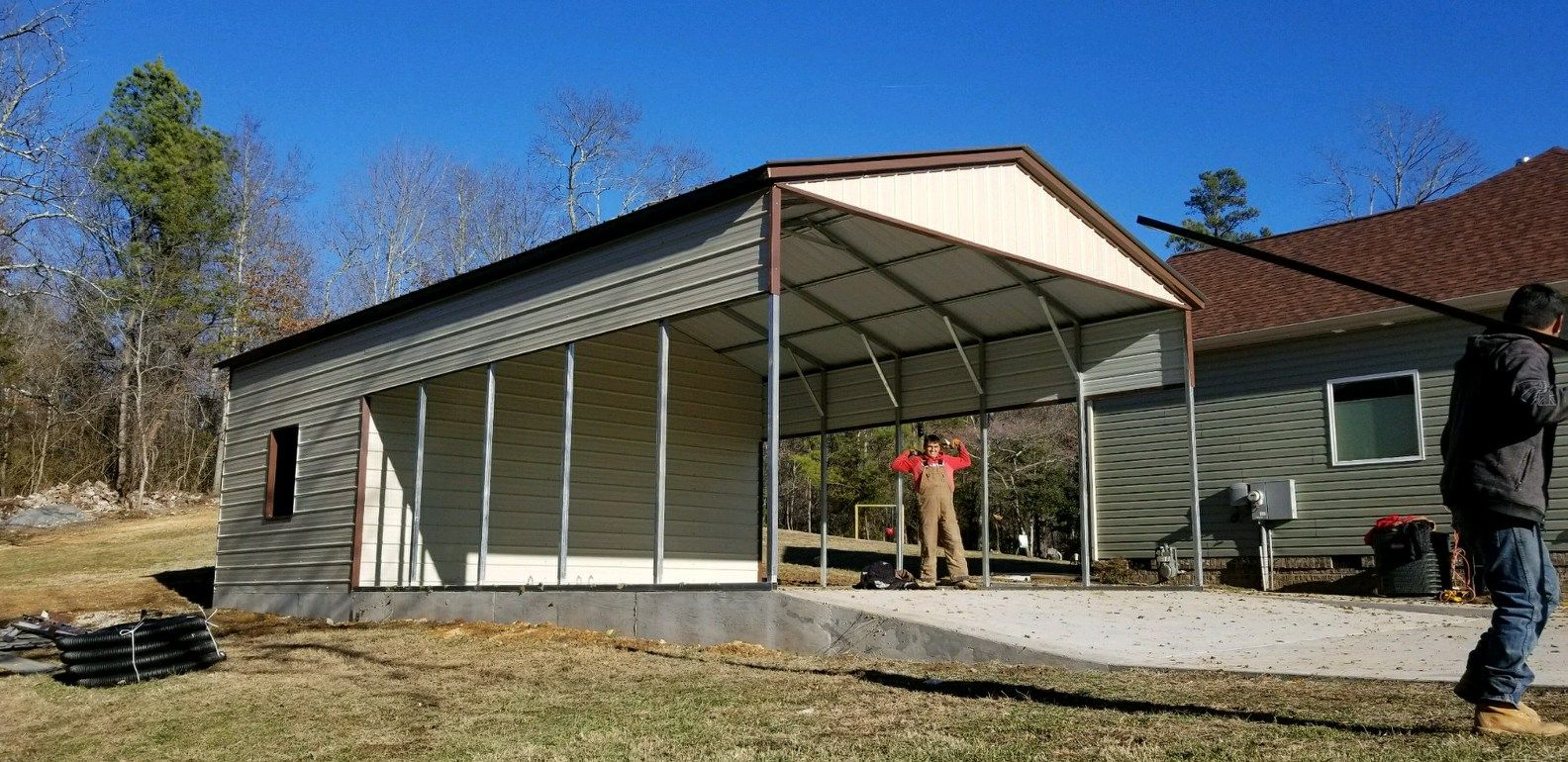 Utility Combos Are The Best Of 2 Options You Get The Protection Of A Carport With The Addition Of A Garage Util Building A Garage Shed Homes Metal Buildings