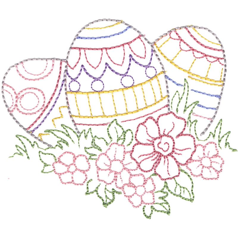 Easter Eggs linework embroidery design from the Signs of