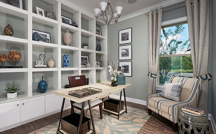 painted home office built ins Traditional Home Office with Built-in bookshelf & Crown molding  | office in 2019