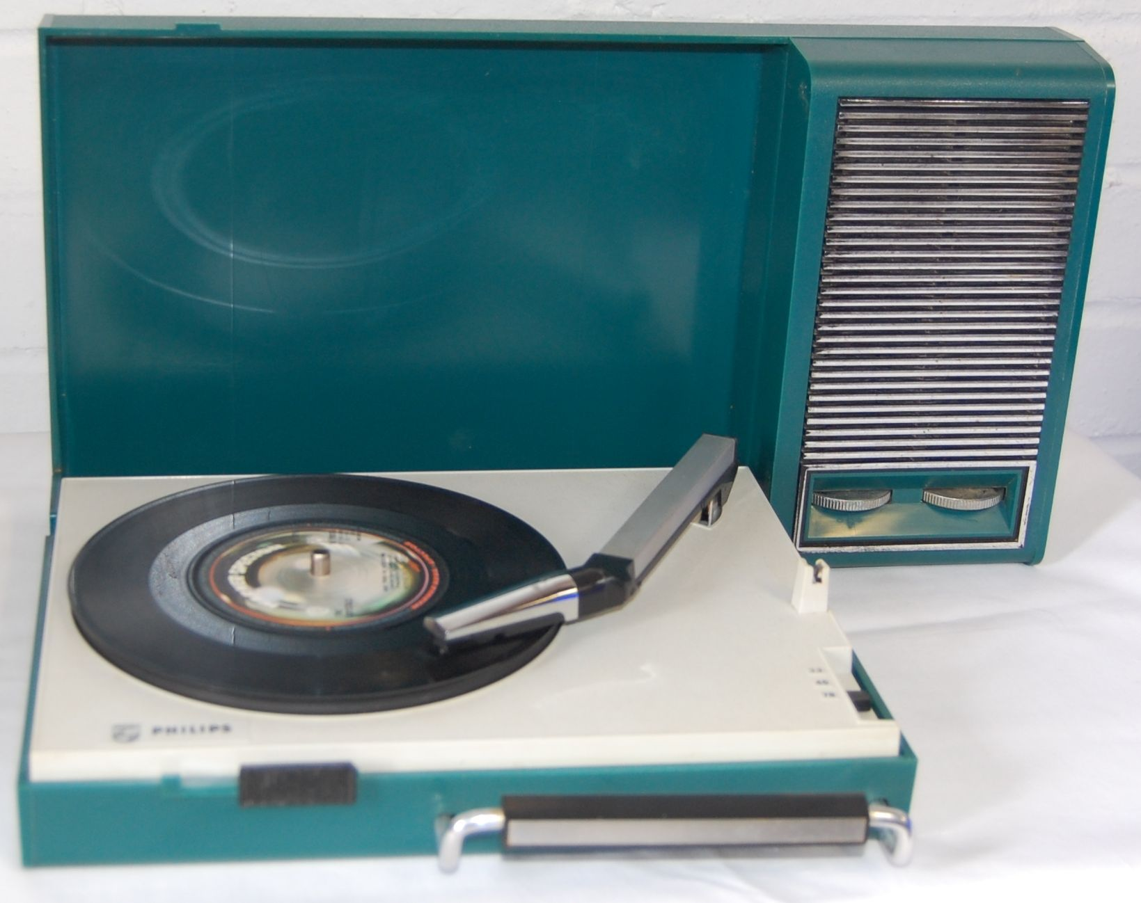 1960S Vintage Green Plastic Portable Record Player By Philips