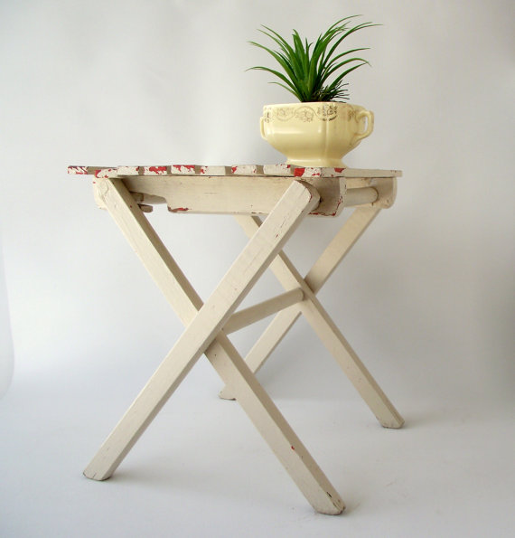 Excellent Folding Wood Stool Vintage White Stool Slat Wooden Camp Squirreltailoven Fun Painted Chair Ideas Images Squirreltailovenorg