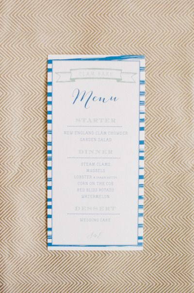 Nautical menu: http://www.stylemepretty.com/2014/07/24/new-england-nautical-meets-west-coast-whimsical-inspiration/ | Photography: Ruth Eileen - http://rutheileenphotography.com/
