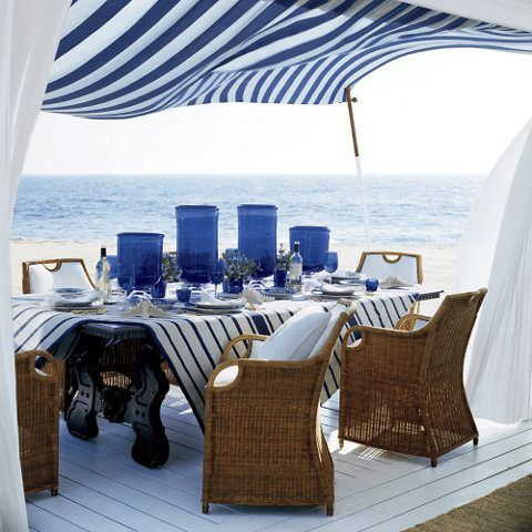 Blue And White Perfect For By The Water Ralph Lauren Jamaica Wicker Dining Chairs