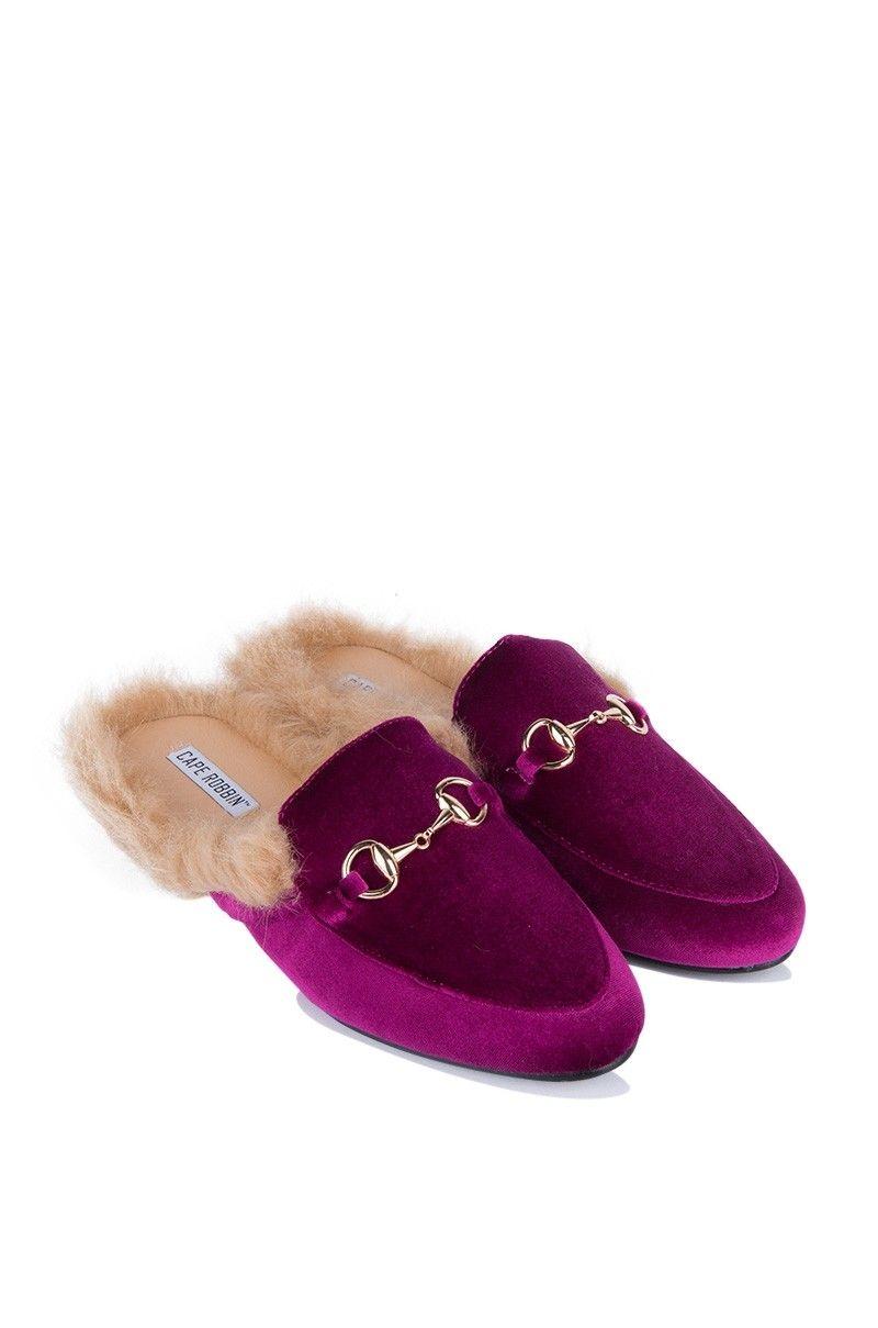 ef3aefd4e04 Cape Robbin Velvet Buckled Faux Fur Lined Loafer Slides in Ocean Blue