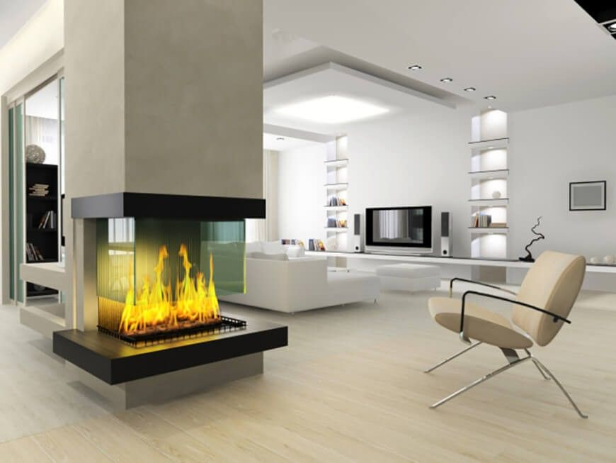 Fireplaces: Elegant Instead Of Modern Fireplace Rectangular Style Living  Room Decor, Superb Modern Fireplaces Design, Superb Modern Fireplaces