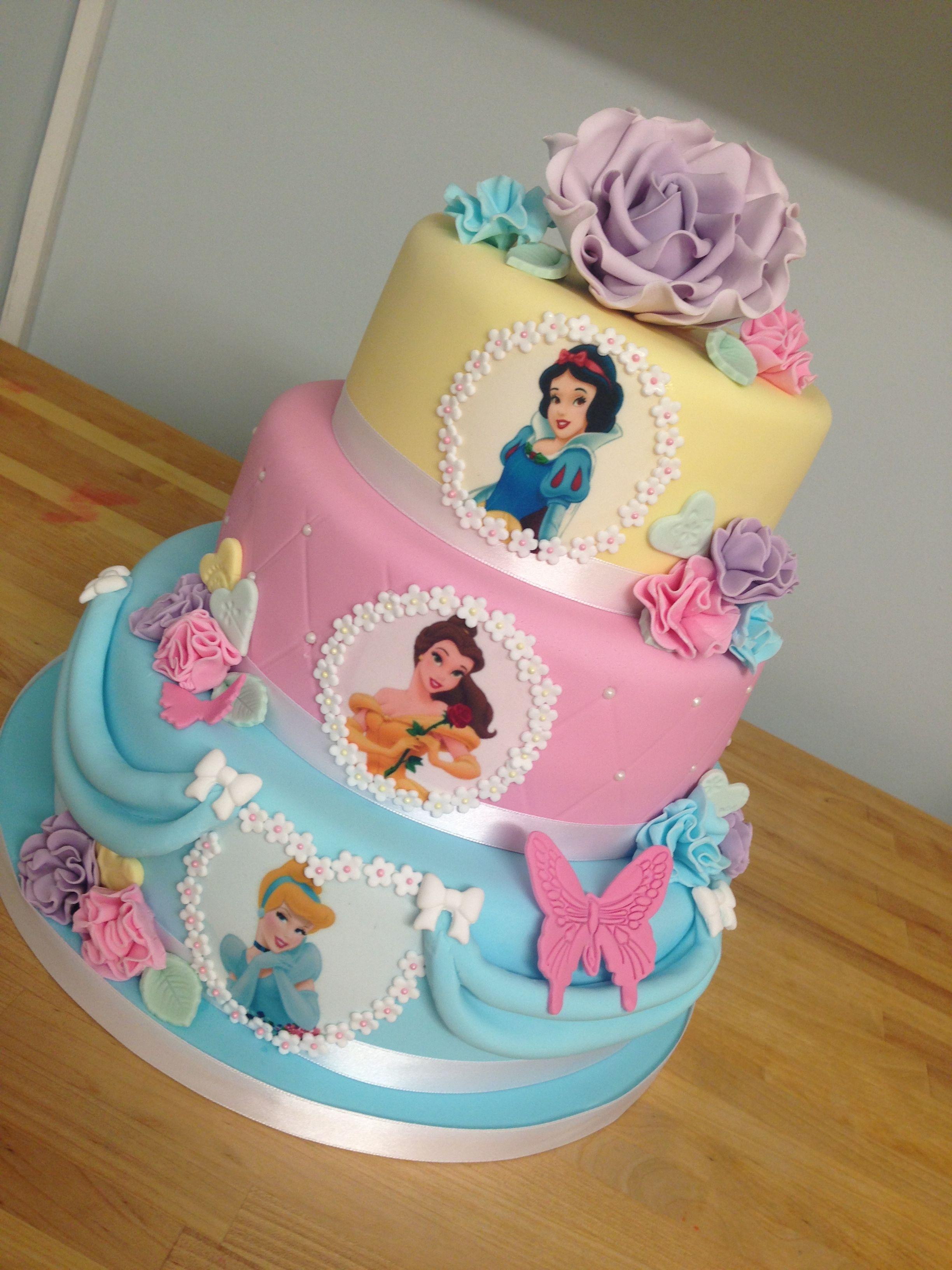3 Tier Pastel Princess Cake With Handmade Rose