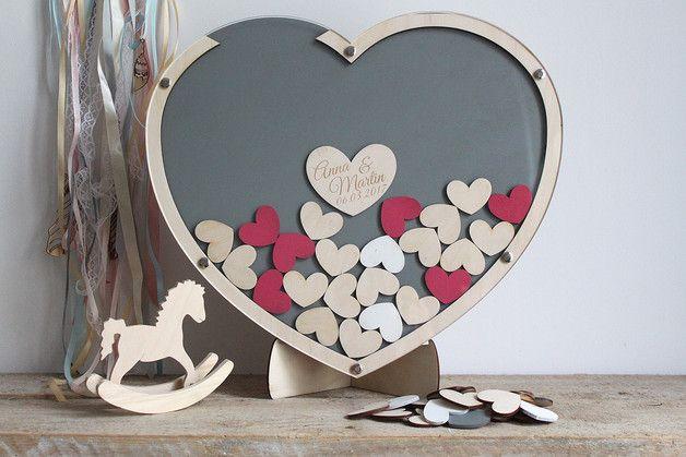 Libros De Firmas Para Bodas De Madera Con Forma De Corazón Wooden Wedding Guestbook Hecho A Mano E Muñecos De Boda Corazones De Madera Invitaciones De Boda