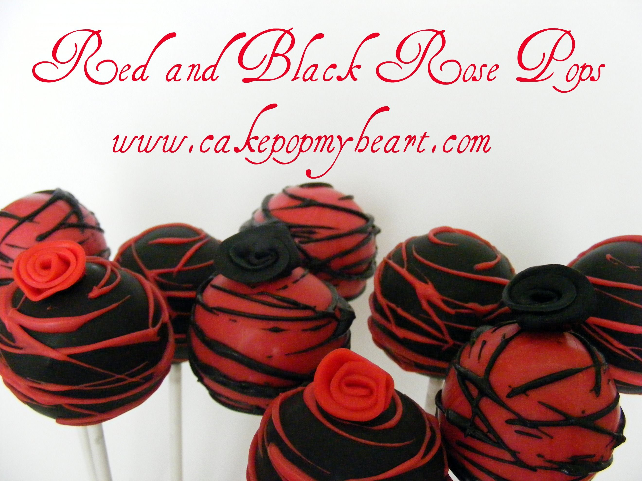 Red And Black Rose Cake Pops