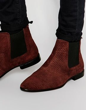 ASOS Chelsea Boots in Burgundy Suede With Snakeskin Effect. Mens Shoes ...
