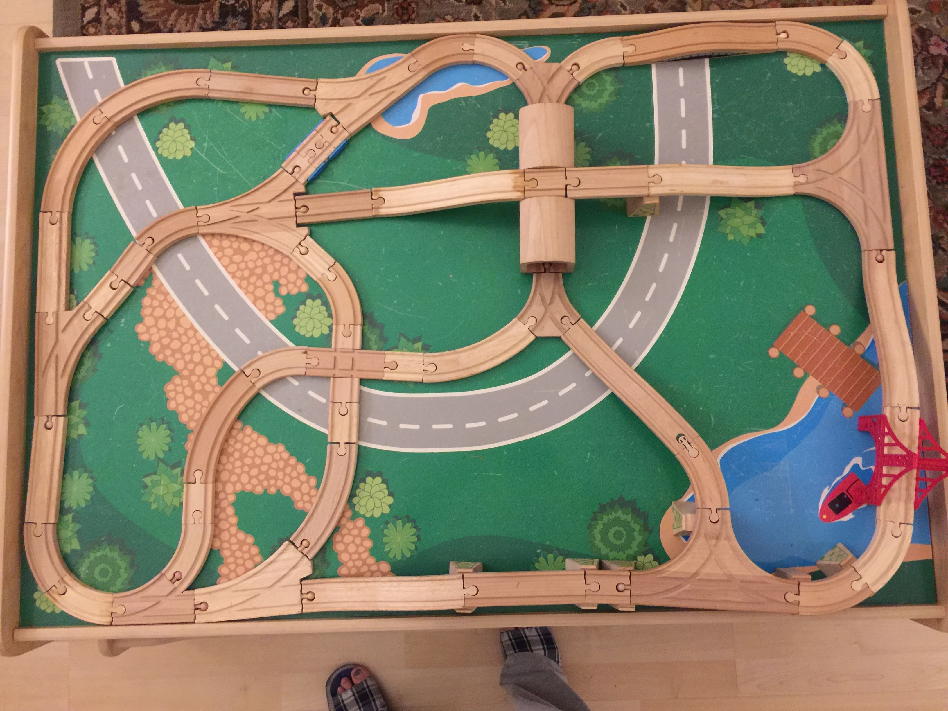 Pin by Angela Lee on Train track layout | Wooden train ...