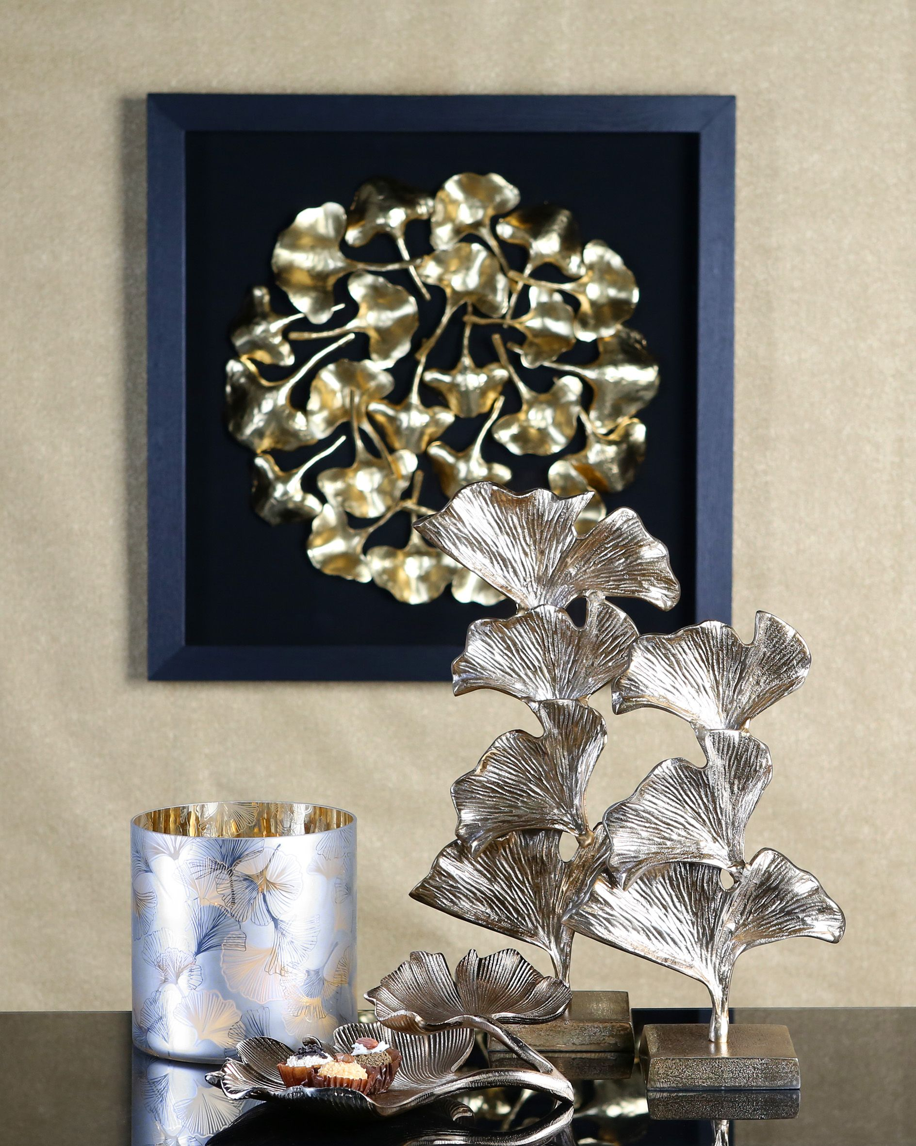 Leinwand Golden Leaves Casablanca Wohnaccessoires Design