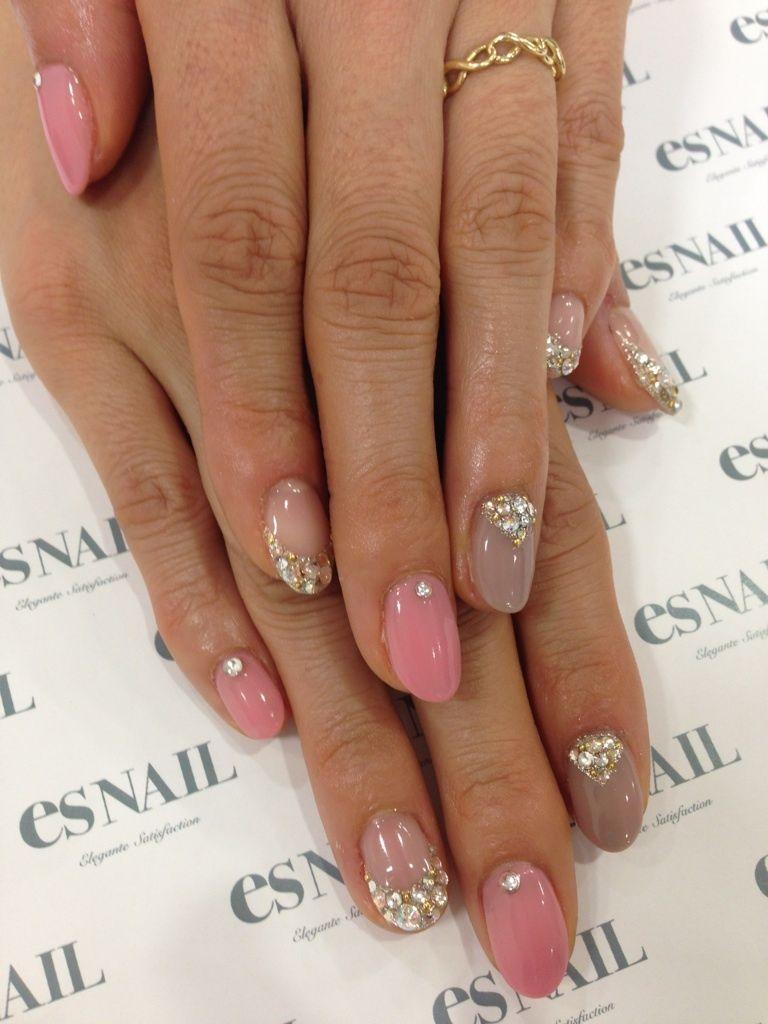 Neutral u pink nail art with sparkles gold u rhinestones nails