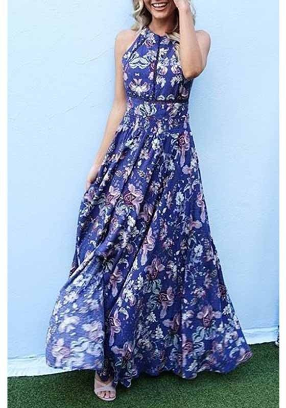 115c6856512 Navy Blue Boho Floral Print Cross Back Slit Halter Neck Bohemian Maxi Dress