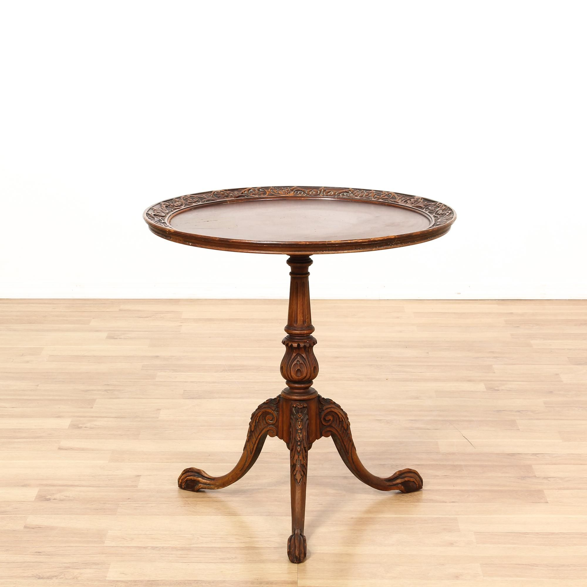 This Round Side Table Is Featured In A Solid Wood With A Glossy