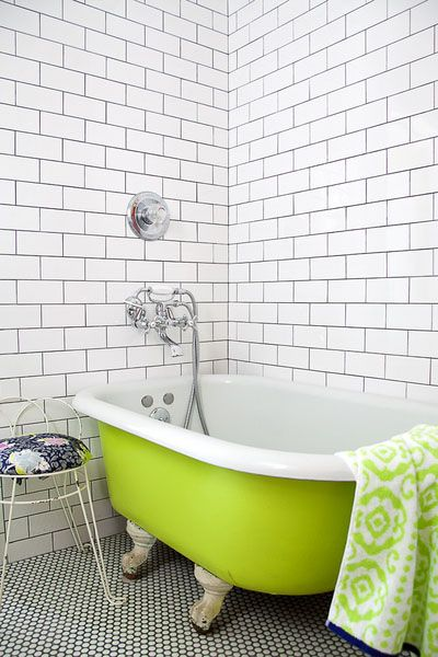 Vintage Chartreuse Painted Claw Foot Tub Adds A Pop Of