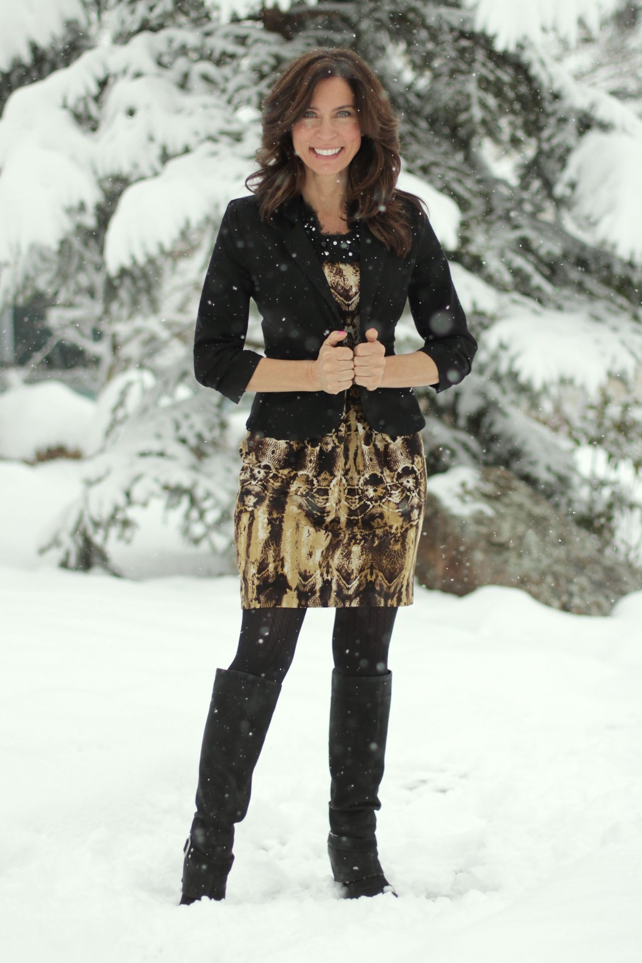 Winter Work Wear Tall Boots Tights And Black Jacket In The Snow Winter Work Wear Winter Outfits Winter Skirt Outfit [ 1920 x 1280 Pixel ]