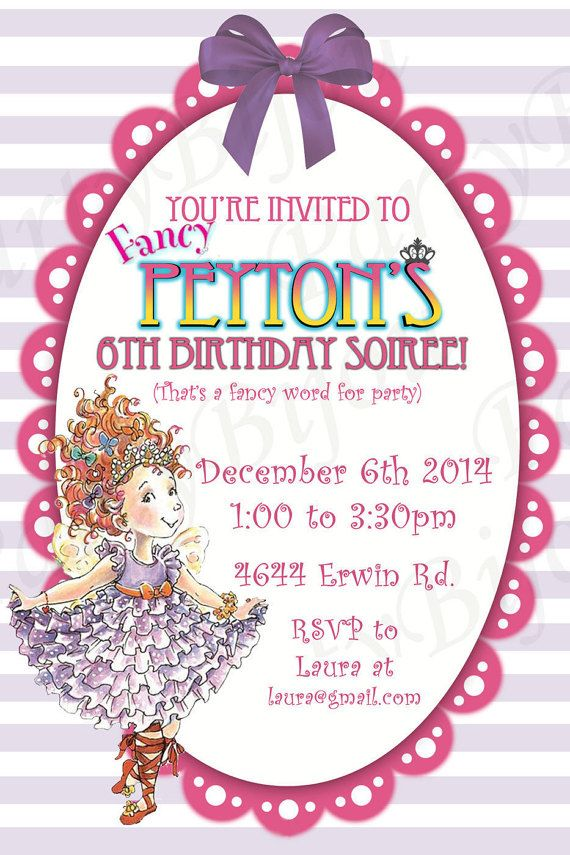 Fancy Nancy Birthday Party Invitation, Digital File, Fancy Nancy ...