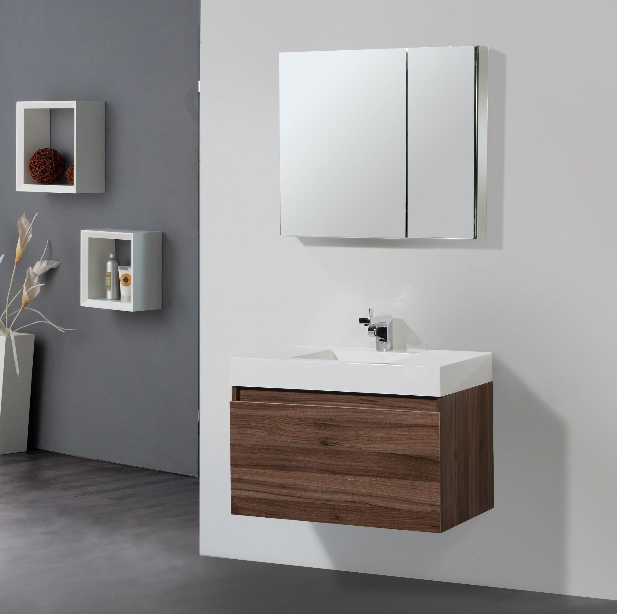 Solid Wood Bathroom Vanities And Modern Floating Brown Wooden