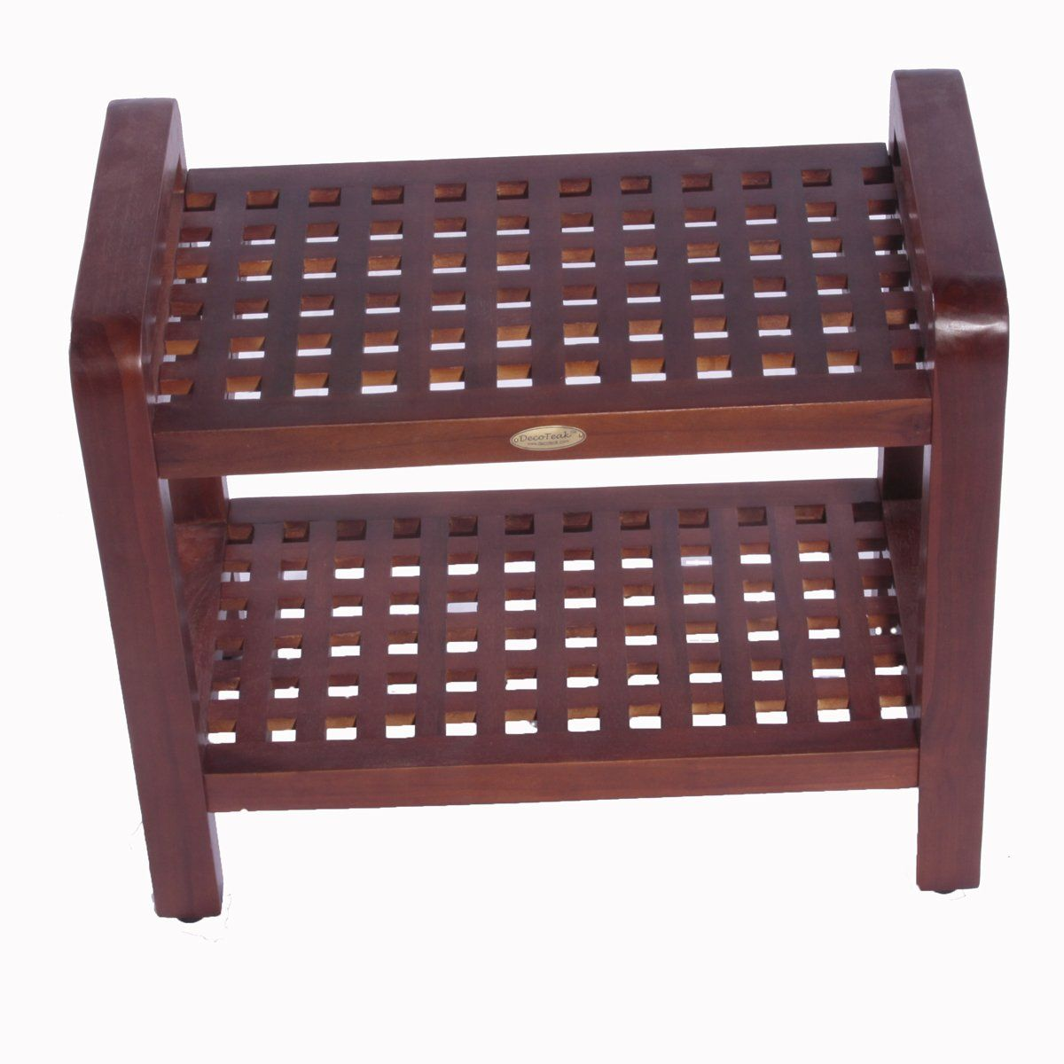 18 Espalier Teak Grate Lattice Shower Bench With Shelf With Lift Aide Arms  For Shower Bath Sauna Living Or Outdoors * Locate The Offer Simply By  Clicking ...