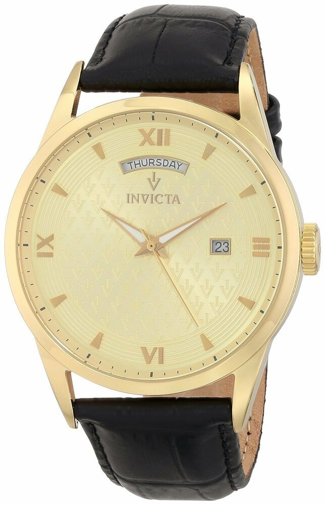 c772e7c4ce7 Invicta Gold Steel Oro Reloj Watch Man Hombre Relogio Leather Crystal Hand  Band  Invicta  CasualLuxury