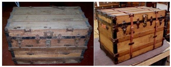 Antique Trunks Refinished Before And After Antique Trunk Antique Trunk Restoration Old Trunks