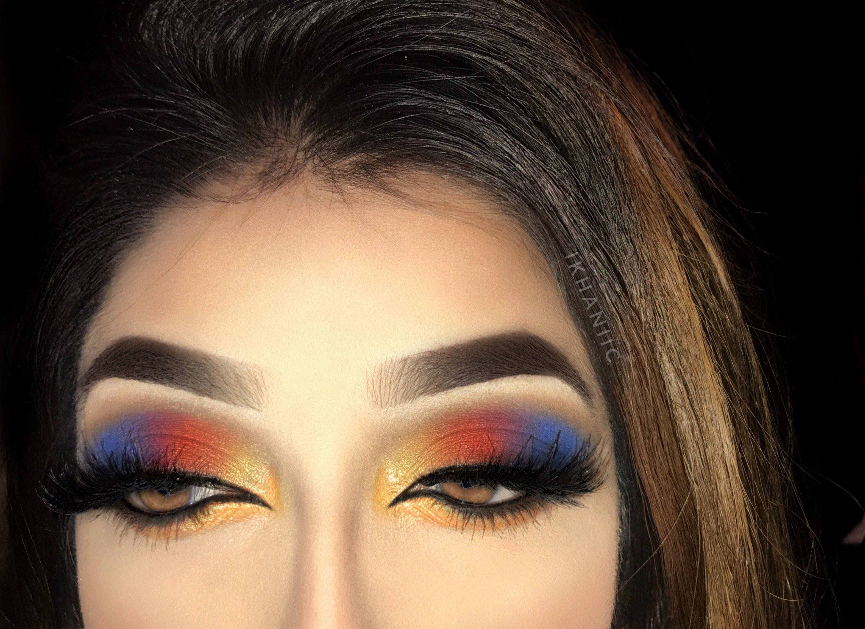 Wonderwoman Inspired Eyemakeup Red Yellow Blue Smokey Eye Blue Eye Makeup White Eyeshadow Yellow Eyeshadow