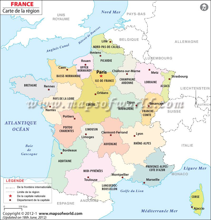 Carte de la france interesting france map in french for B b carte france