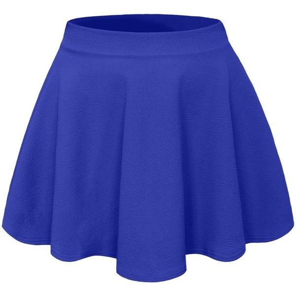 NE PEOPLE Basic High Waisted Stretchy Flared Skater Skirt ❤ liked on Polyvore featuring skirts, high waisted circle skirt, high rise skirts, blue circle skirt, stretchy skirt and high-waisted skirts